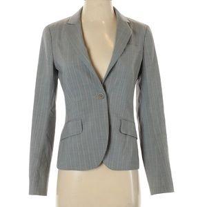Theory Gray Pinstripe Wool Blazer Button Sz 2